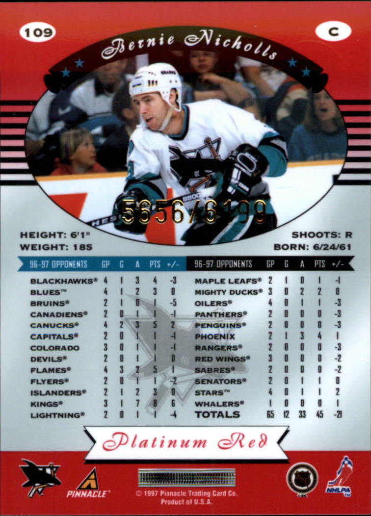 miniature 218 - 1997-98 Pinnacle Totally Certified Platinum Red Pick Your Player Cheap Shipping