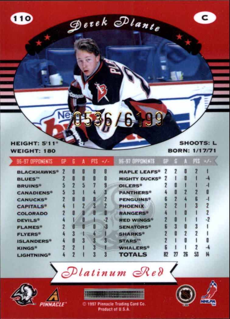 miniature 220 - 1997-98 Pinnacle Totally Certified Platinum Red Pick Your Player Cheap Shipping
