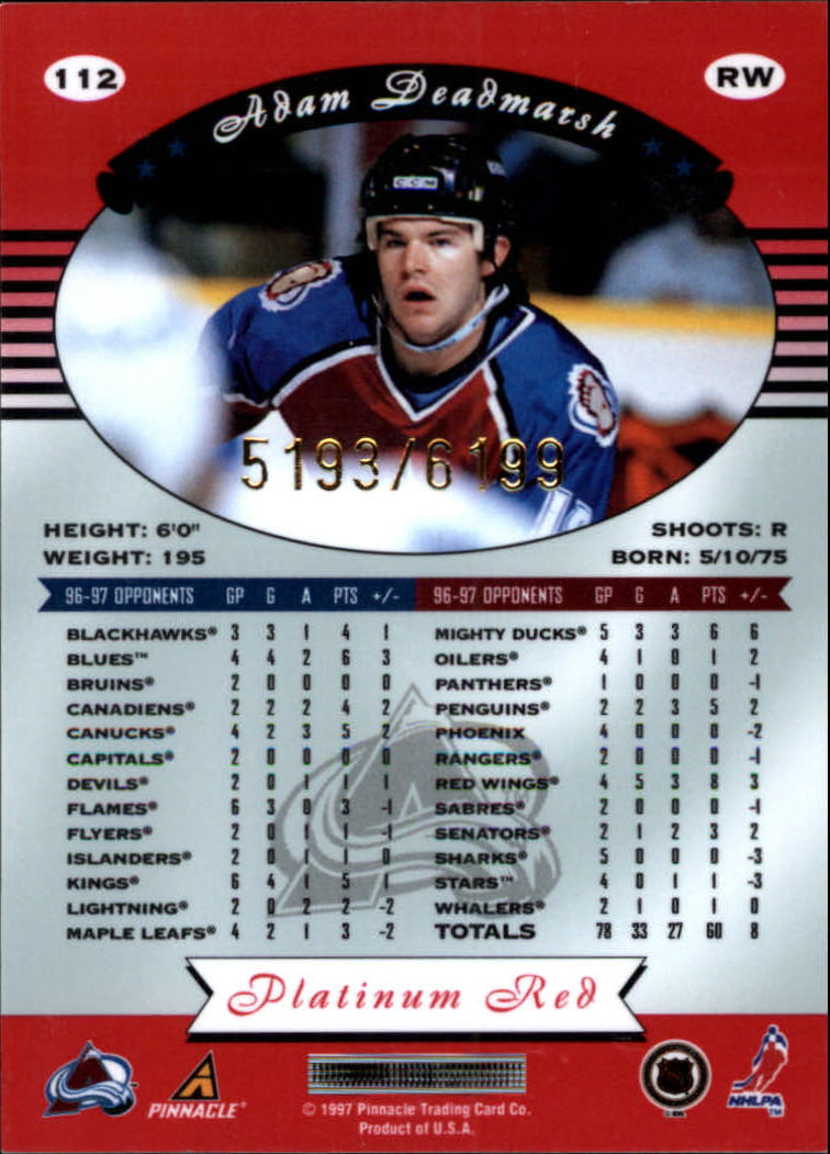 miniature 224 - 1997-98 Pinnacle Totally Certified Platinum Red Pick Your Player Cheap Shipping