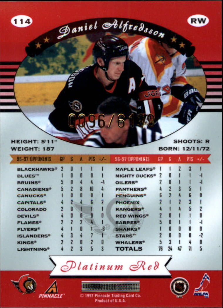 miniature 228 - 1997-98 Pinnacle Totally Certified Platinum Red Pick Your Player Cheap Shipping