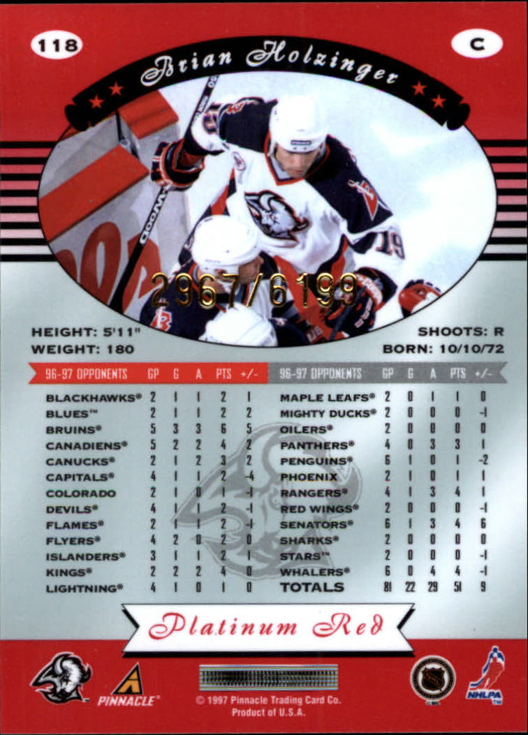 miniature 236 - 1997-98 Pinnacle Totally Certified Platinum Red Pick Your Player Cheap Shipping