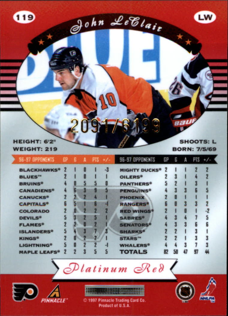 miniature 238 - 1997-98 Pinnacle Totally Certified Platinum Red Pick Your Player Cheap Shipping