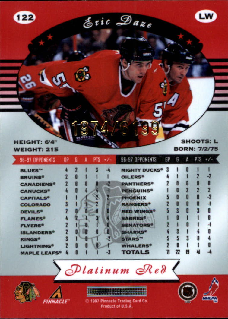miniature 244 - 1997-98 Pinnacle Totally Certified Platinum Red Pick Your Player Cheap Shipping