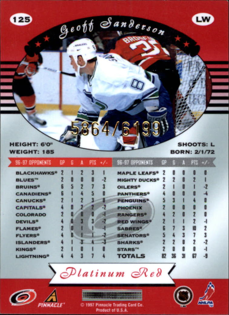 miniature 250 - 1997-98 Pinnacle Totally Certified Platinum Red Pick Your Player Cheap Shipping