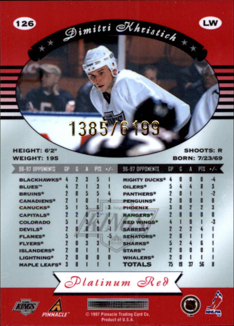 miniature 252 - 1997-98 Pinnacle Totally Certified Platinum Red Pick Your Player Cheap Shipping