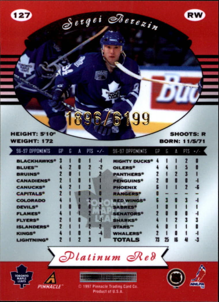 miniature 254 - 1997-98 Pinnacle Totally Certified Platinum Red Pick Your Player Cheap Shipping