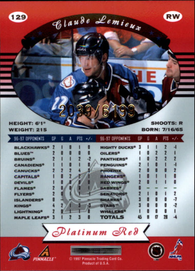 miniature 258 - 1997-98 Pinnacle Totally Certified Platinum Red Pick Your Player Cheap Shipping