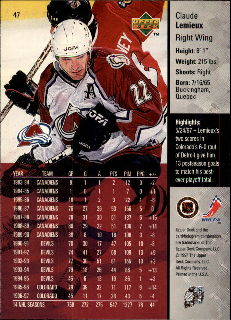 1997-98-Upper-Deck-Hk-Cards-1-195-Rookies-A4551-You-Pick-10-FREE-SHIP thumbnail 82