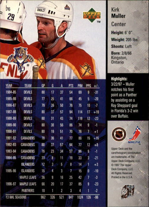 1997-98-Upper-Deck-Hk-Cards-1-195-Rookies-A4551-You-Pick-10-FREE-SHIP thumbnail 134