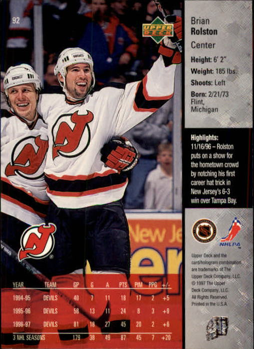 1997-98-Upper-Deck-Hk-Cards-1-195-Rookies-A4551-You-Pick-10-FREE-SHIP thumbnail 164