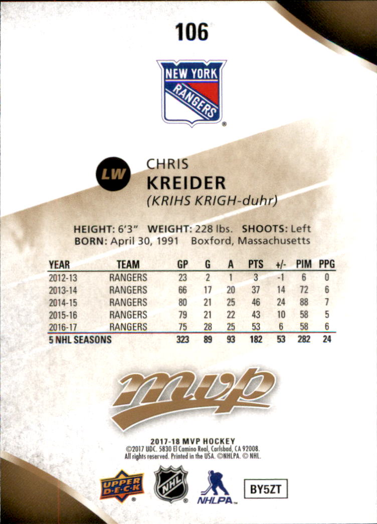 2017-18-Upper-Deck-MVP-Hk-1-250-Rookies-A0932-You-Pick-10-FREE-SHIP thumbnail 230