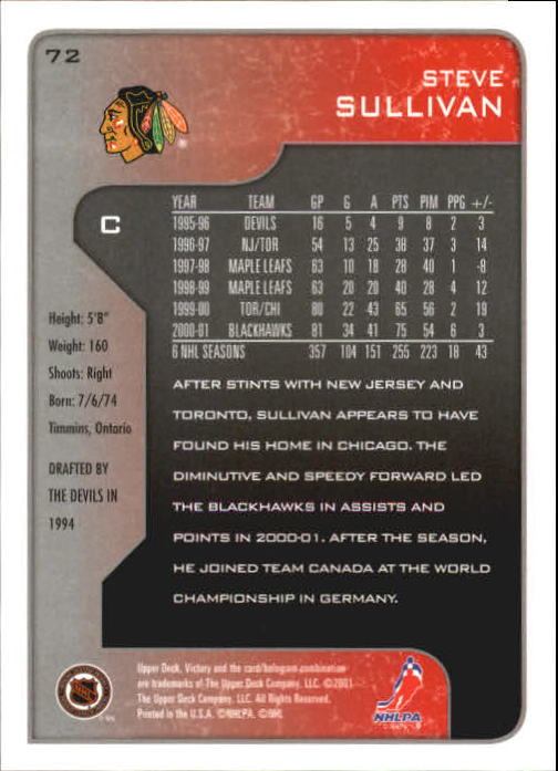 2001-02-Upper-Deck-Victory-Hk-Cards-1-250-A5960-You-Pick-10-FREE-SHIP miniature 137