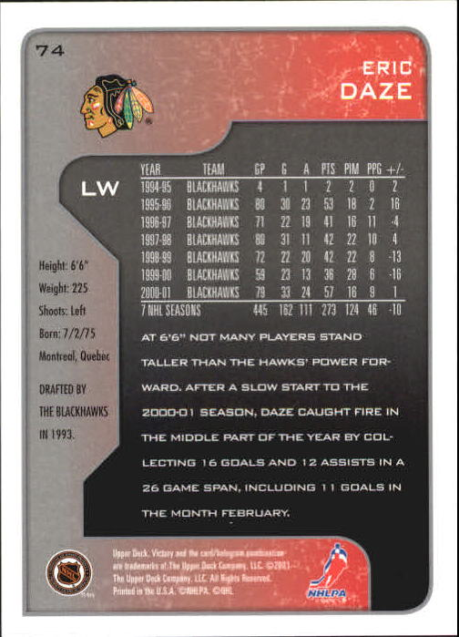 2001-02-Upper-Deck-Victory-Hk-Cards-1-250-A5960-You-Pick-10-FREE-SHIP miniature 141