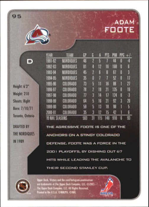2001-02-Upper-Deck-Victory-Hk-Cards-1-250-A5960-You-Pick-10-FREE-SHIP miniature 179