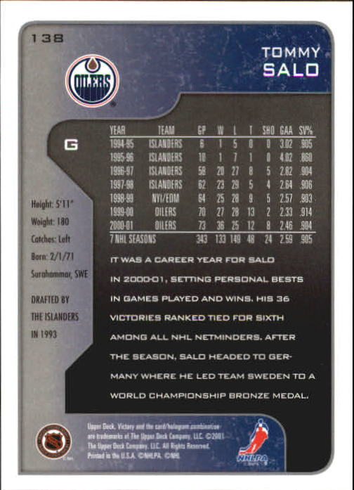 2001-02-Upper-Deck-Victory-Hk-Cards-1-250-A5960-You-Pick-10-FREE-SHIP miniature 263