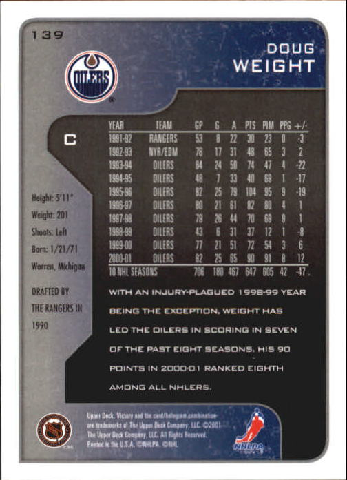 2001-02-Upper-Deck-Victory-Hk-Cards-1-250-A5960-You-Pick-10-FREE-SHIP miniature 265