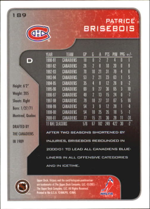 2001-02-Upper-Deck-Victory-Hk-Cards-1-250-A5960-You-Pick-10-FREE-SHIP miniature 361