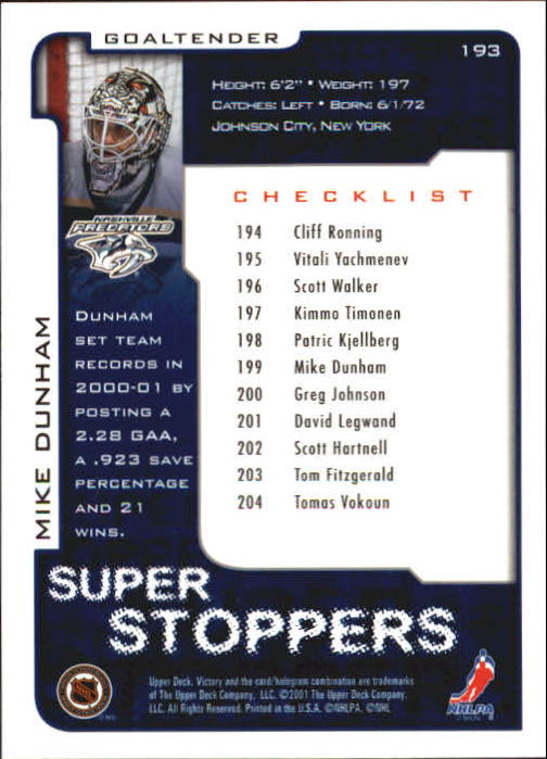 2001-02-Upper-Deck-Victory-Hk-Cards-1-250-A5960-You-Pick-10-FREE-SHIP miniature 369
