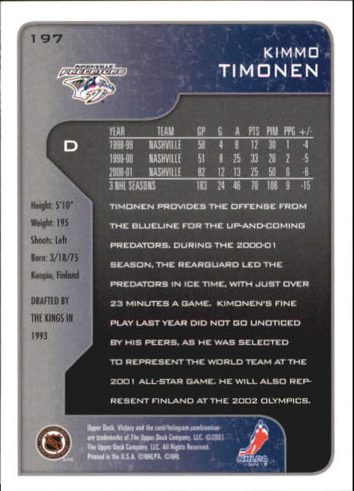 2001-02-Upper-Deck-Victory-Hk-Cards-1-250-A5960-You-Pick-10-FREE-SHIP miniature 377