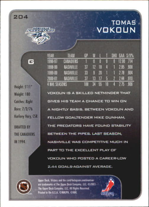2001-02-Upper-Deck-Victory-Hk-Cards-1-250-A5960-You-Pick-10-FREE-SHIP miniature 391