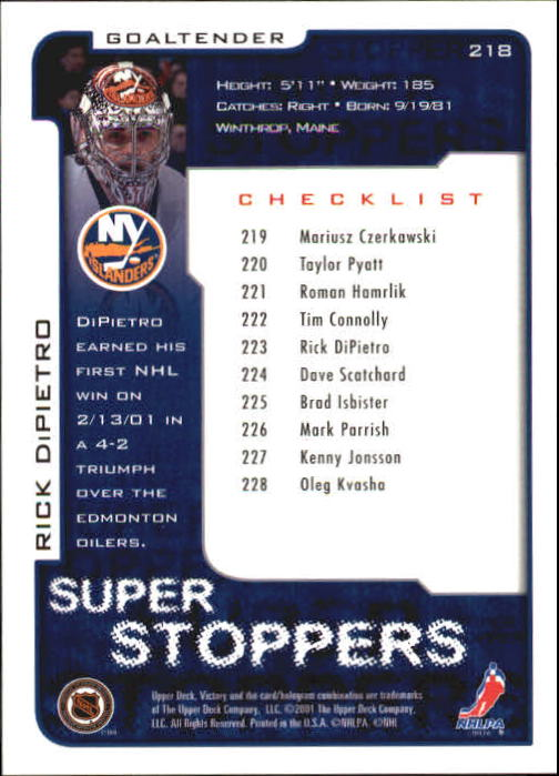 2001-02-Upper-Deck-Victory-Hk-Cards-1-250-A5960-You-Pick-10-FREE-SHIP miniature 419