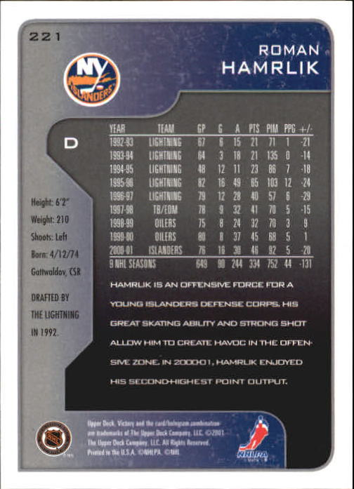 2001-02-Upper-Deck-Victory-Hk-Cards-1-250-A5960-You-Pick-10-FREE-SHIP miniature 425