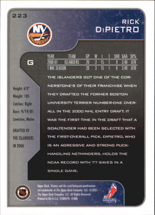2001-02-Upper-Deck-Victory-Hk-Cards-1-250-A5960-You-Pick-10-FREE-SHIP miniature 429