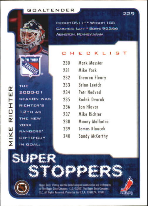 2001-02-Upper-Deck-Victory-Hk-Cards-1-250-A5960-You-Pick-10-FREE-SHIP miniature 441
