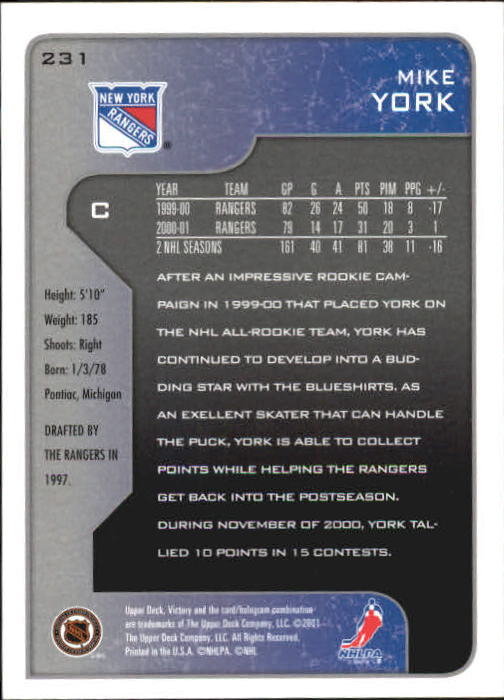 2001-02-Upper-Deck-Victory-Hk-Cards-1-250-A5960-You-Pick-10-FREE-SHIP miniature 445