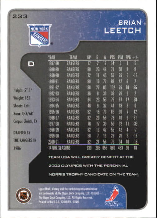 2001-02-Upper-Deck-Victory-Hk-Cards-1-250-A5960-You-Pick-10-FREE-SHIP miniature 449