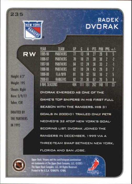 2001-02-Upper-Deck-Victory-Hk-Cards-1-250-A5960-You-Pick-10-FREE-SHIP miniature 453