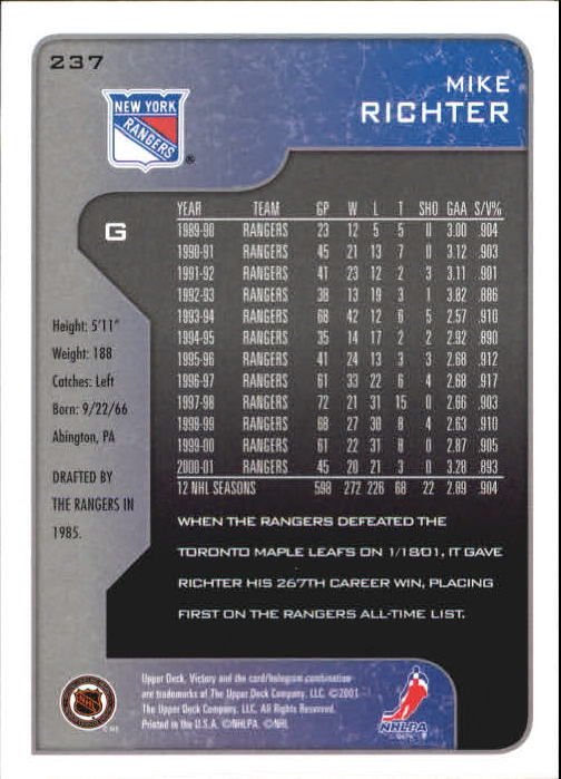 2001-02-Upper-Deck-Victory-Hk-Cards-1-250-A5960-You-Pick-10-FREE-SHIP miniature 457