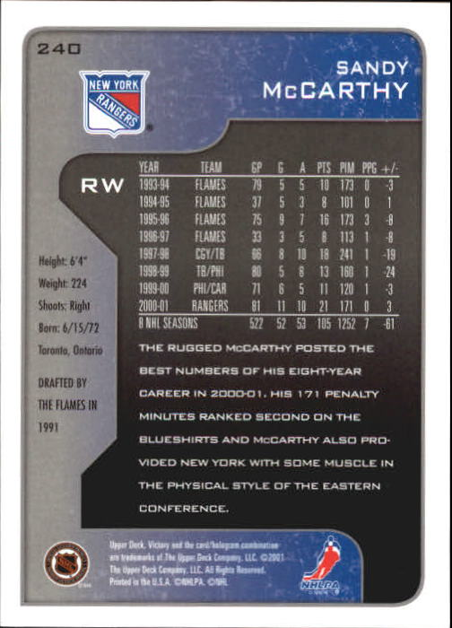 2001-02-Upper-Deck-Victory-Hk-Cards-1-250-A5960-You-Pick-10-FREE-SHIP miniature 461