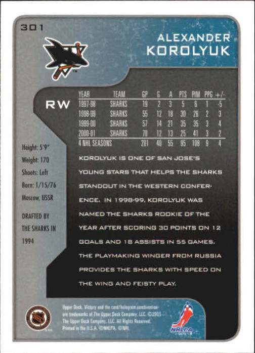 2001-02-Upper-Deck-Victory-Hk-Cards-251-440-A5960-You-Pick-10-FREE-SHIP miniature 103