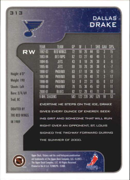 2001-02-Upper-Deck-Victory-Hk-Cards-251-440-A5960-You-Pick-10-FREE-SHIP miniature 127