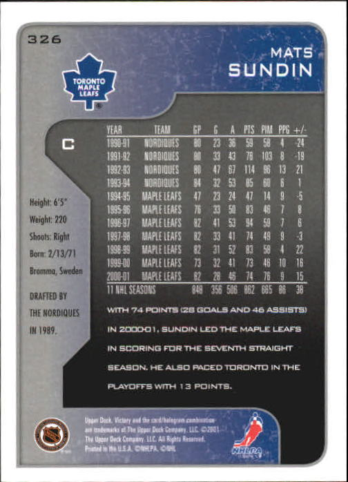 2001-02-Upper-Deck-Victory-Hk-Cards-251-440-A5960-You-Pick-10-FREE-SHIP miniature 153
