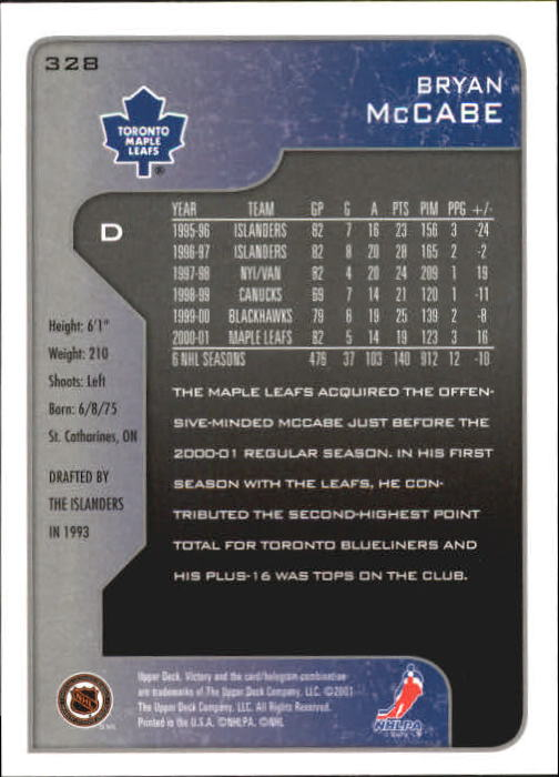 2001-02-Upper-Deck-Victory-Hk-Cards-251-440-A5960-You-Pick-10-FREE-SHIP miniature 157