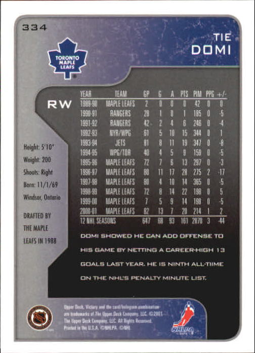 2001-02-Upper-Deck-Victory-Hk-Cards-251-440-A5960-You-Pick-10-FREE-SHIP miniature 169