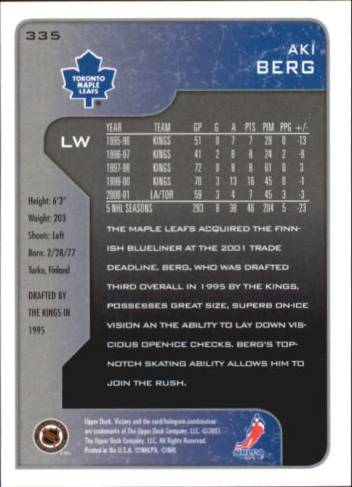 2001-02-Upper-Deck-Victory-Hk-Cards-251-440-A5960-You-Pick-10-FREE-SHIP miniature 171