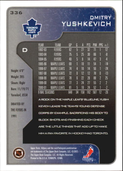 2001-02-Upper-Deck-Victory-Hk-Cards-251-440-A5960-You-Pick-10-FREE-SHIP miniature 173