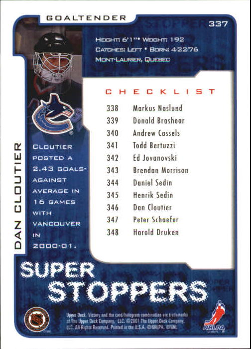 2001-02-Upper-Deck-Victory-Hk-Cards-251-440-A5960-You-Pick-10-FREE-SHIP miniature 175