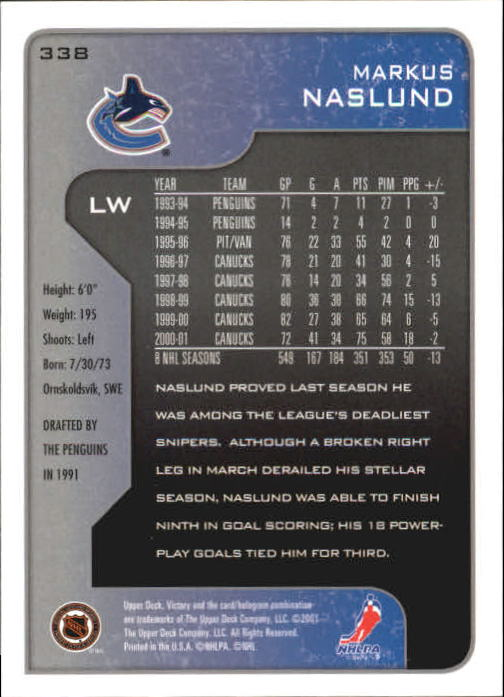 2001-02-Upper-Deck-Victory-Hk-Cards-251-440-A5960-You-Pick-10-FREE-SHIP miniature 177