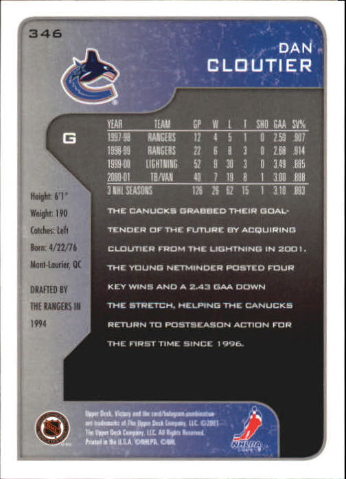 2001-02-Upper-Deck-Victory-Hk-Cards-251-440-A5960-You-Pick-10-FREE-SHIP miniature 193