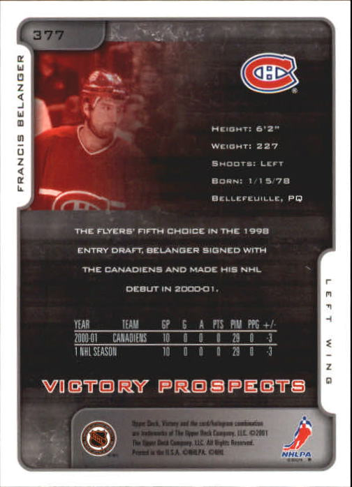 2001-02-Upper-Deck-Victory-Hk-Cards-251-440-A5960-You-Pick-10-FREE-SHIP miniature 251