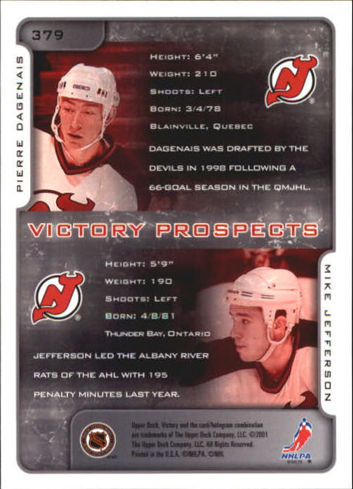 2001-02-Upper-Deck-Victory-Hk-Cards-251-440-A5960-You-Pick-10-FREE-SHIP miniature 255