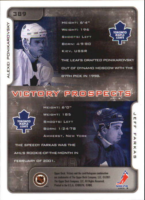 2001-02-Upper-Deck-Victory-Hk-Cards-251-440-A5960-You-Pick-10-FREE-SHIP miniature 271