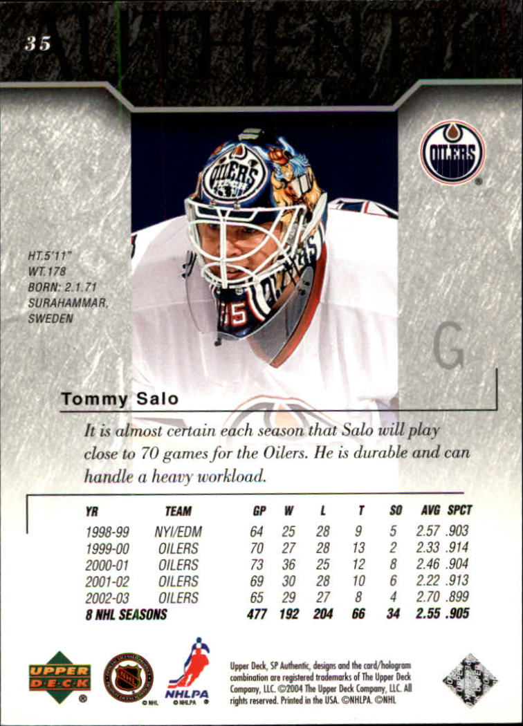 Tommy Salo Hockey Card 2003-04 SP Authentic #35 Tommy Salo