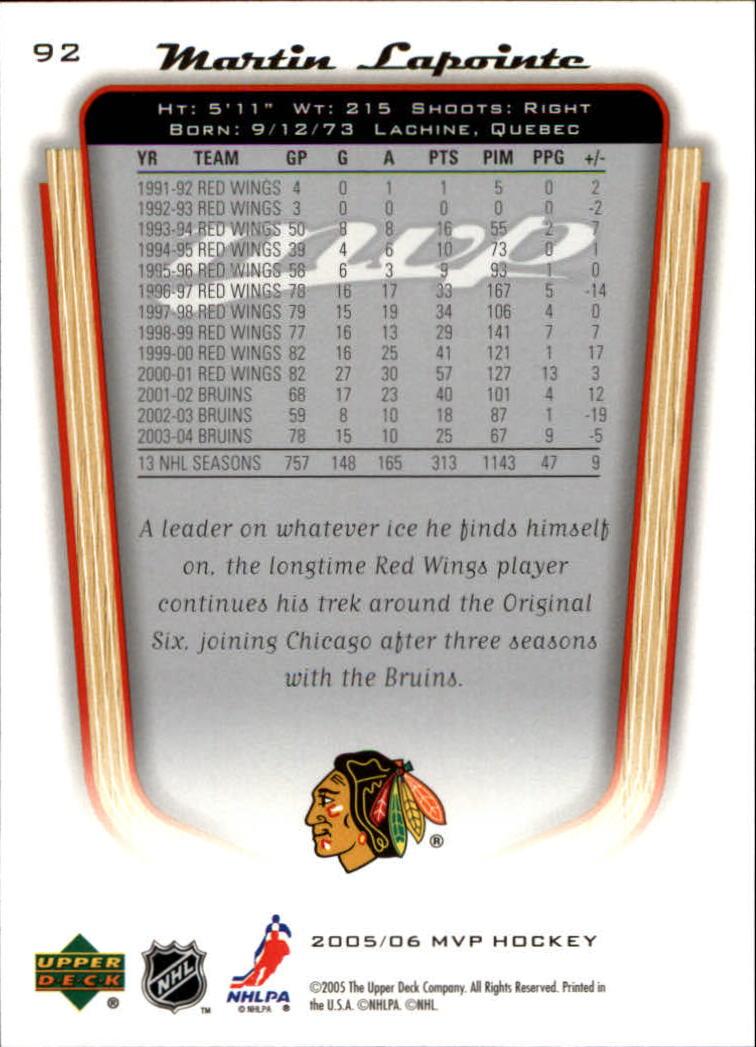 2005-06-Upper-Deck-MVP-Hockey-Card-Pick-1-250 thumbnail 174