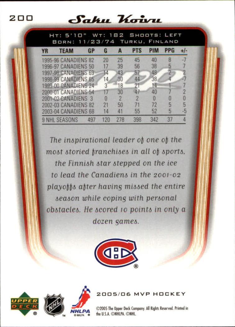2005-06-Upper-Deck-MVP-Hockey-Card-Pick-1-250 thumbnail 374