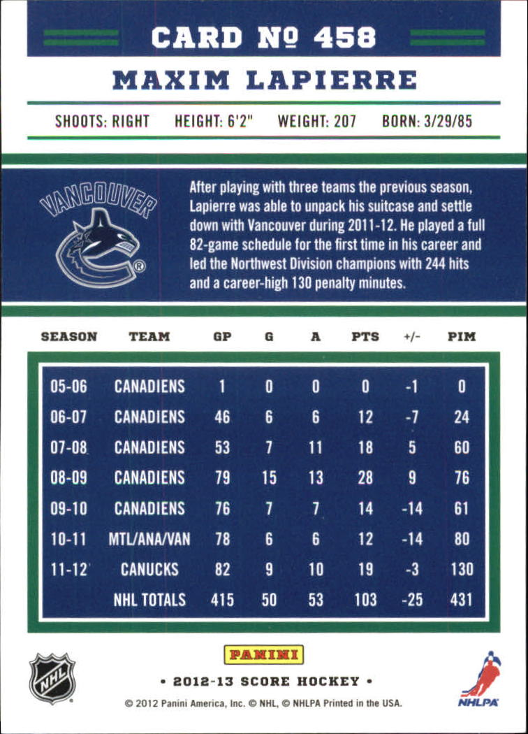 2012-13-Score-Gold-Rush-Parallel-Hockey-Cards-Huge-List-Combined-Shipping miniature 173
